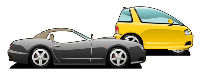 sports car and tiny car.