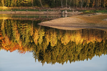 Trees in autumn colors reflecting on the lake
