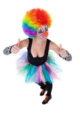 Clown showing ok sign with her fingers isolated