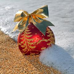 Christmas decoration on the beach