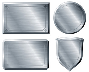 Brushed metal shapes