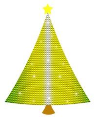 Mosaic Christmas spruce tree, object white isolated