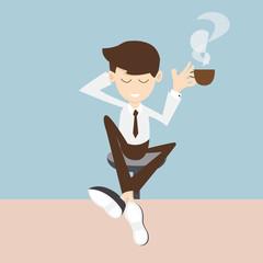 coffee  break - businessman enjoying a cup of coffee