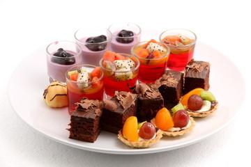 mini desserts on white