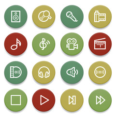 Audio video icons on color buttons.
