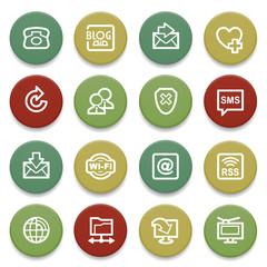 Communication contour icons on color buttons.