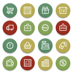 Shopping contour icons on color buttons.