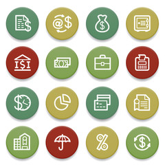 Finance contour icons on color buttons.