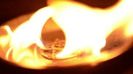 Ancient pentagram burning