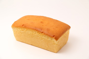 Butter cake on a white background.