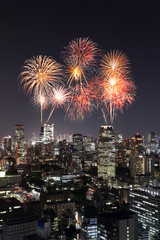 Fireworks celebrating over Tokyo cityscape at night, Japan
