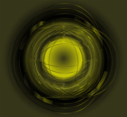 Abstract Techno Circle  green background. Vector Eps 10
