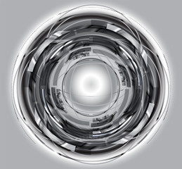 Abstract Techno Circle grey background