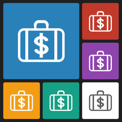 money case with dollar currency symbol icon