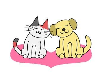 犬と猫 頬を寄せ合う