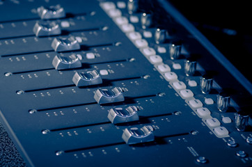 Sound recording studio sliders buttons