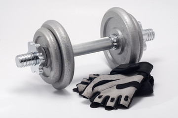 dumbbell and workout gloves