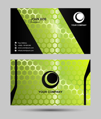 Green hexagon pattern business card design
