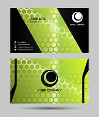 Green hexagon pattern business card design
