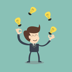 businessman juggling  with light  bulbs