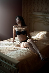 Beautiful sexy brunette young woman wearing black lingerie