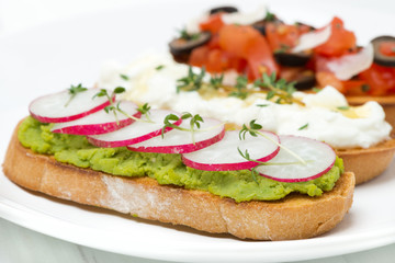 toasted ciabatta with pate of avocado and fresh radish