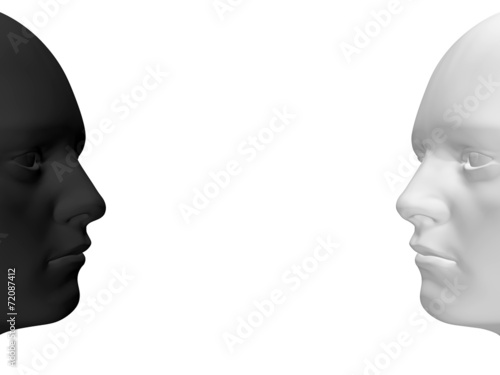 canvas print picture two faces - black and white