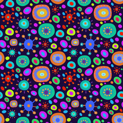 Seamless background with multi-colored psychedelic pattern