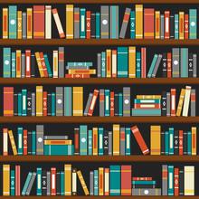 Vecteur de livres de bibliothèque étagère fond