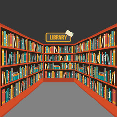 Vector of library book shelf background