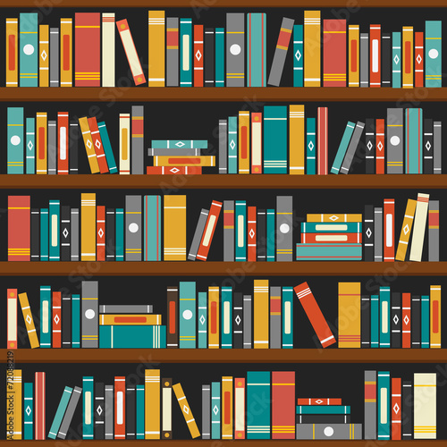 Vector of library book shelf background - 72088219