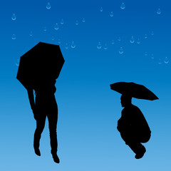 Vector silhouettes of couple.