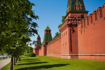 Kremlin wall view with green trees and grass