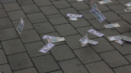 wind carries money on the street