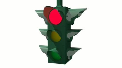 Traffic light animation with lights turning on white background