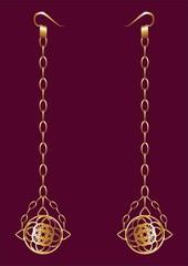 Earrings of gold.