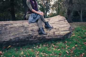 Woman sitting on a fallen tree in the park