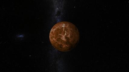 Planet Venus with Milky Way galaxy