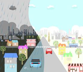 街 晴のち雨