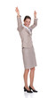 Portrait Of Successful Businesswoman With Arms Raised