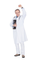 Successful Doctor With Hand Raised Over White Background