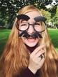 canvas print picture - Frau mit lustiger Maske