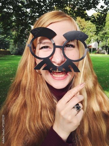 canvas print picture Frau mit lustiger Maske