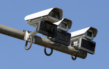 Security surveillance cameras isolated