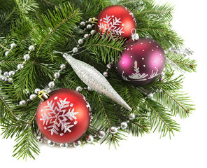 Christmas baubles with natural conifer