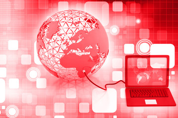 Global network on abstract background .