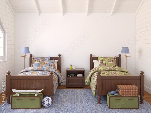 canvas print picture Bedroom for two children.