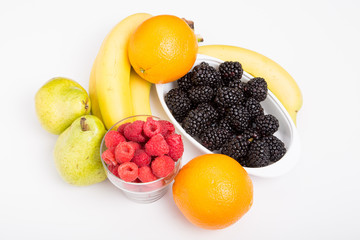Fresh, whole fruit on a white background.