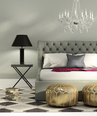 Contemporary elegant luxury grey bedroom