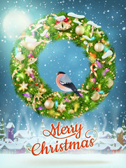 Christmas garland with baubles. EPS 10